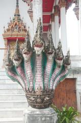 naga head statue in thai temple