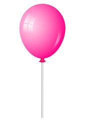 Vector illustration of pink shiny balloon