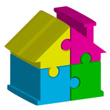 Vector 3d illustration of house from puzzles