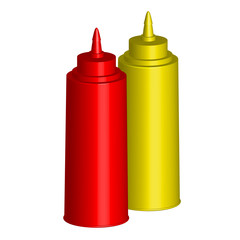 Vector illustration - Bottles of Ketchup and Mustard