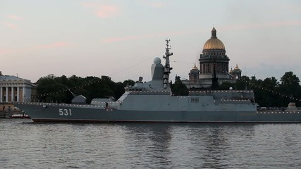 "Navy Corvette ""Soobrazitelny"" at anchor in St. Petersburg"