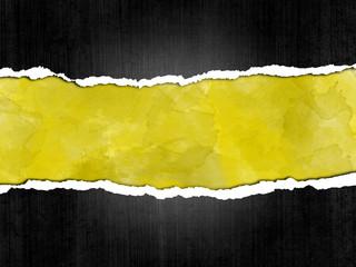 Papel rasgado, fondo, amarillo, marco