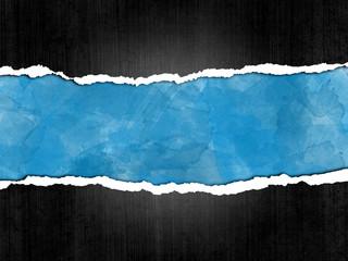 Papel rasgado, fondo, azul, marco