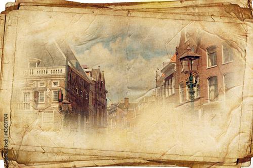 Poglądy holenderskim mieście Harlem w zabytkowe stule, jak pocztówka