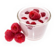 Raspberry Yogurt isolated on white
