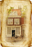 views of Dutch city of Delft in vintage stule, like postcard
