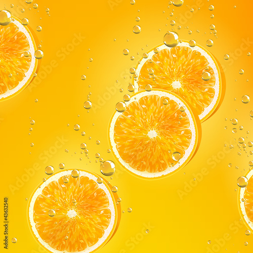 Sticker Vector Illustration of Orange Fruits falling in liquid