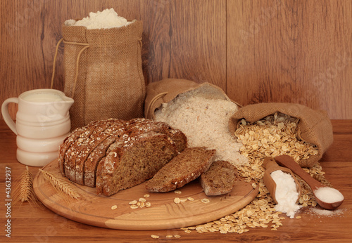 Sourdough Bread and Ingredients