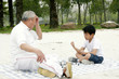 A boy playing chess with his grandfather on the lakeside