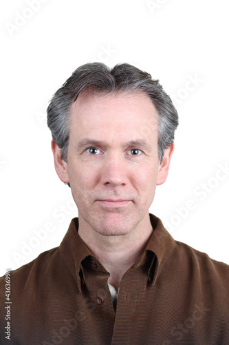 40-50 year middle aged man with brown shirt