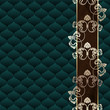 Elegant dark green Rococo background with ornamental margin