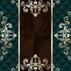 Dark green vintage banner with metallic ornaments