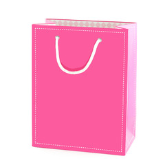 Pink shopping bag isolated on white