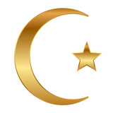Vector illustration of gold star and crescent
