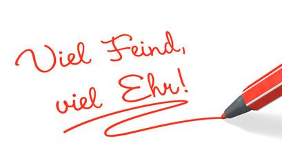 Stift & Schrift-Serie: Viel Feind, viel Ehr! rot