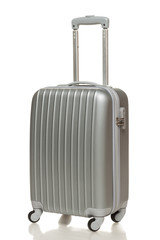 Silver suitcase isolated on white background