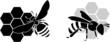 Obrazy na płótnie, fototapety, zdjęcia, fotoobrazy drukowane : black bee silhouette isolated on white background