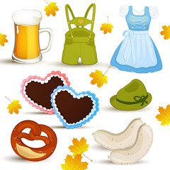 Vector set with oktoberfest elements