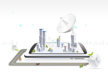 City and Big satellite dish built on mobile phone