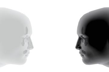 Dos caras de diferentes colores
