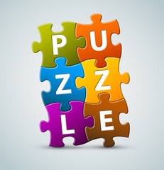 Vector colorful puzzle lettering
