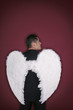 Businessman with angel wings looking away