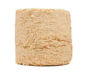 Compressed Sawdust Fire Log Isolated on White Background