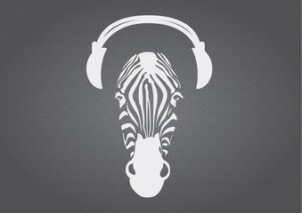 Zebra with headphones