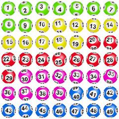 Boules de loto colorées numérotées de 1 à 49
