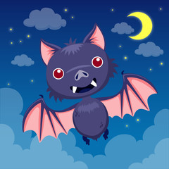 Bat on night sky