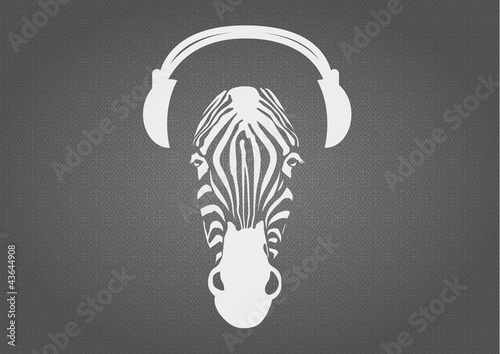 Zebra with headphones