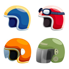 Motorcycle helmet set vector