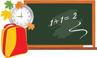 Blackboard and school backpack. Back to school