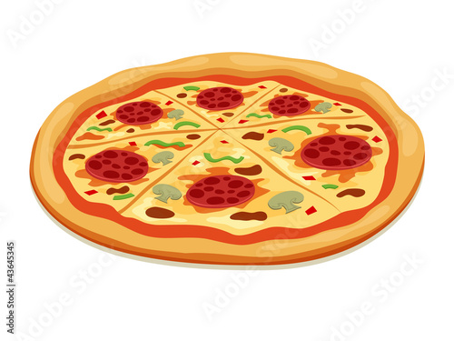Vector Pizza isolated on white
