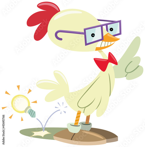 funny nerd chicken has an idea