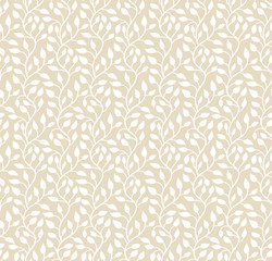 Seamless light beige leaf pattern. Vector illustration