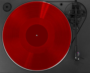 Turntable with red record