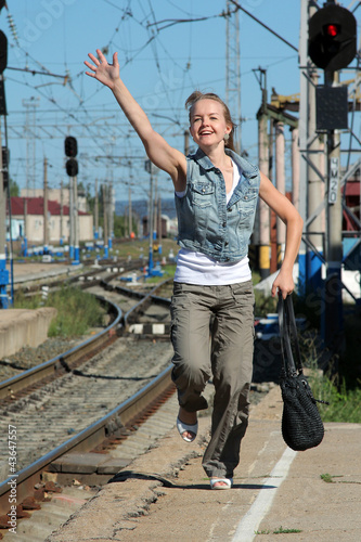 girl is not catching a train