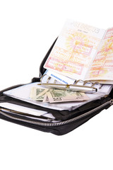 business man leather travel date book with money passport