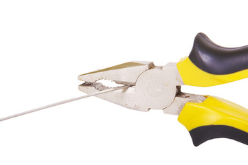 yellow pliers tool cut the steel strip