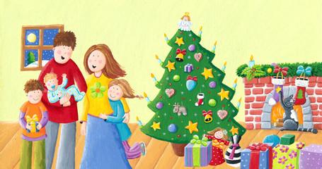 Happy family on Christmas