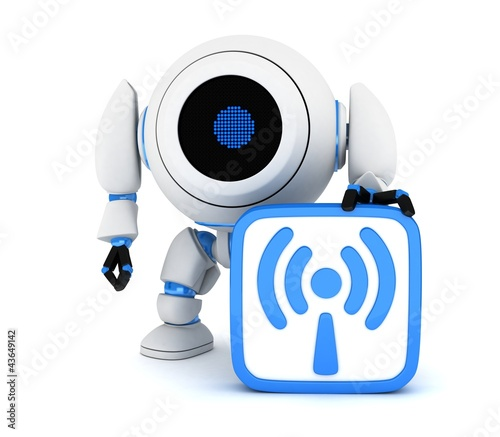 Robot and symbol Wi-Fi