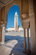 View of the Hassan II Mosque by a decorative arch