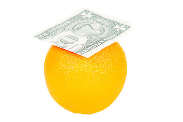 dollars bill on the orange isolated on white background