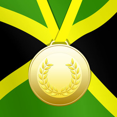 Gold medal with jamaican flag
