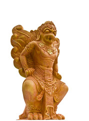 Garuda statues Phraya white background.