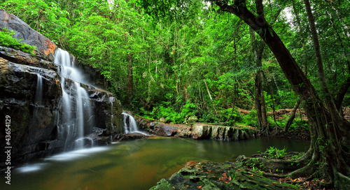 Waterfall in tropical forest, east of Thailand