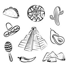 Mexico, Mexiko, Maya, design elements, vector set