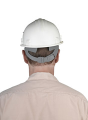 Back of worker man with white constructor helmet
