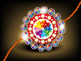 abstract colorful rakhi with daimond